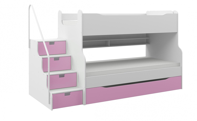 Etagenbett für bis zu 3 Kinder  Mazzi mit Schubkastentreppe