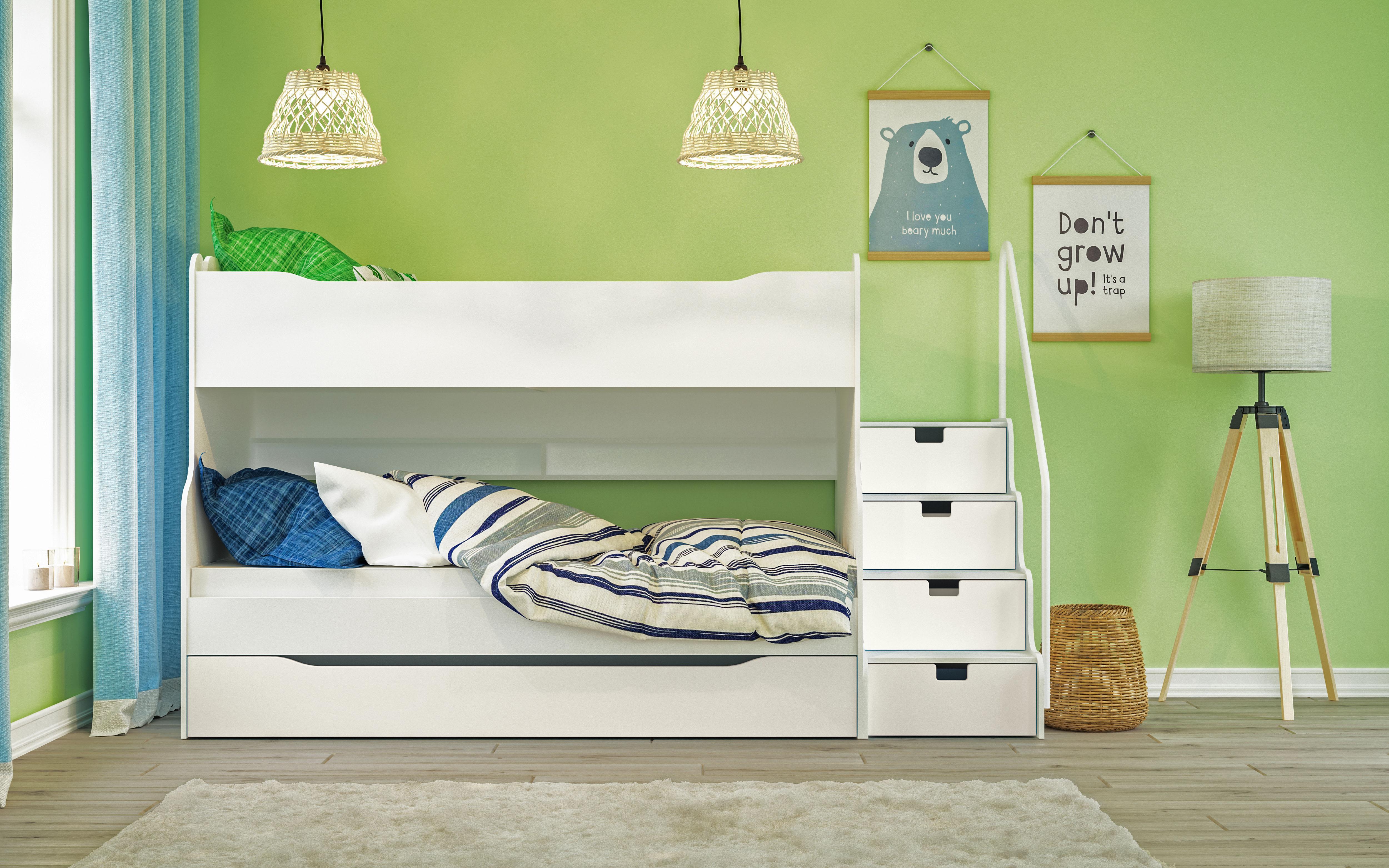 Etagenbett für bis zu drei Kinder in verschiedenen Farben