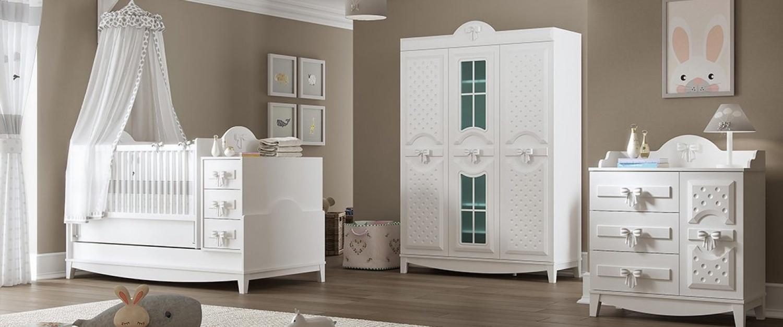 Almila Babyzimmer komplett Set in Weiß Spotty 3-teilig