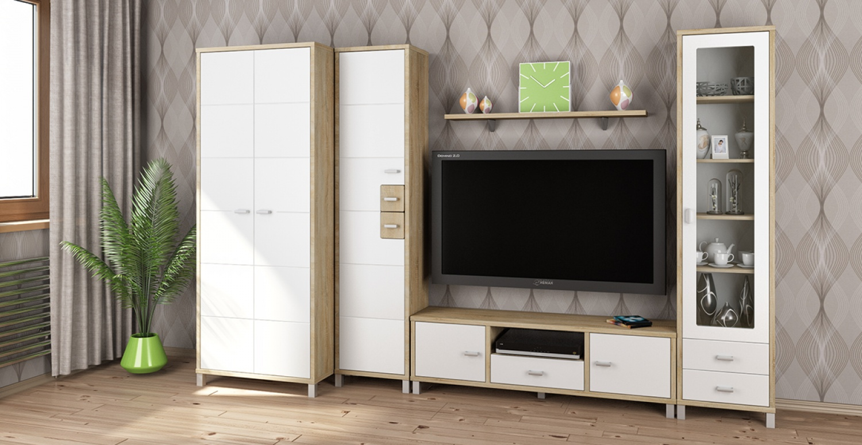 Moderne Wohnwand Kombi Domino 5-teilig