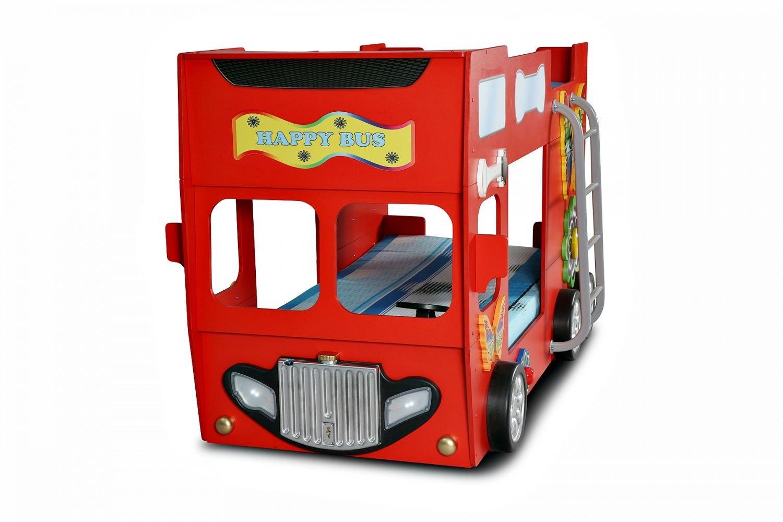 Autobett Happy Bus inkl. Matratze in Rot mit Leiter in Rot