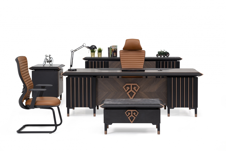 Ovali Büromöbel 4-teilig Jersay Schwarz Bronze