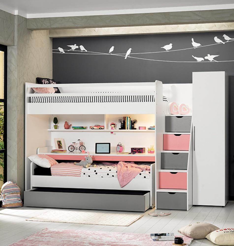 Almilas Kinderzimmer Set Neos mit drei Schlafplätzen Weiß/Rosa