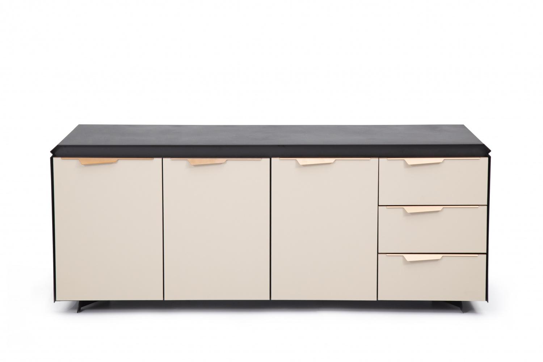 Ovali Sideboard 3-türig Horizon Schwarz Beige