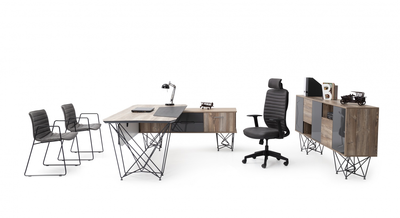 Ovali Büro Set 3-teilig Brace Anthrazit Holzoptik