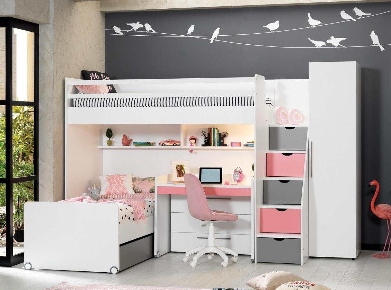 Almilas Jugendzimmer Set Neos mit Hochbett 5-teilig Rosa/Weiß