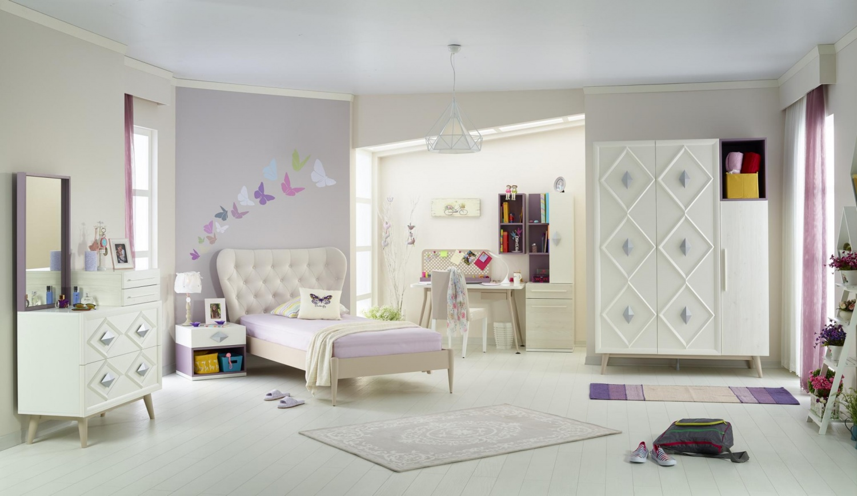 Almila Jugendzimmer komplett Set Weiß Lila Diamond 5-teilig