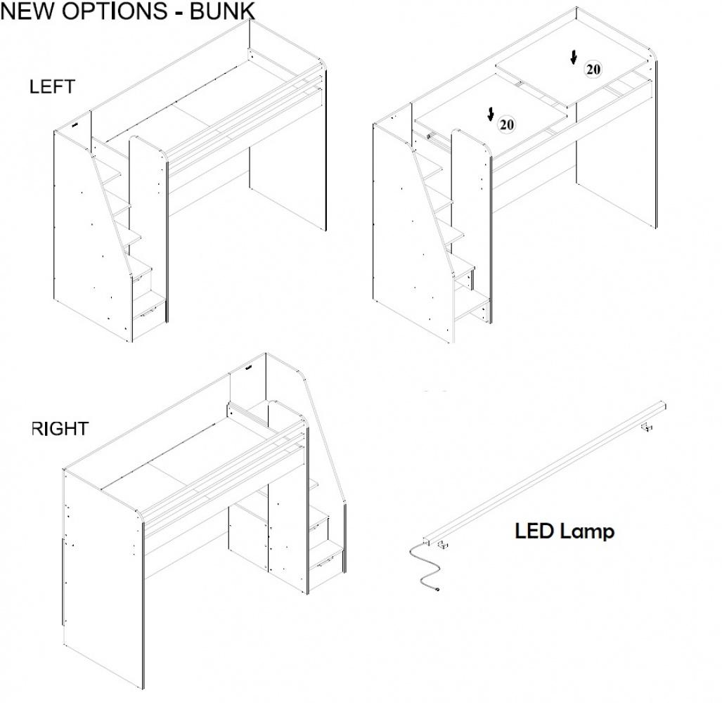 Almila Hochbett  Novum Options mit USB und Schubkasten