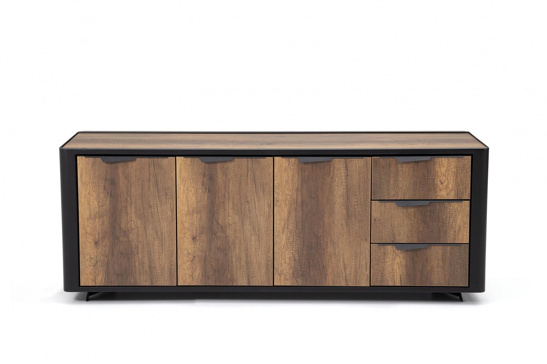 Ovali Sideboard 3-türig Line ll Schwarz Holzoptik