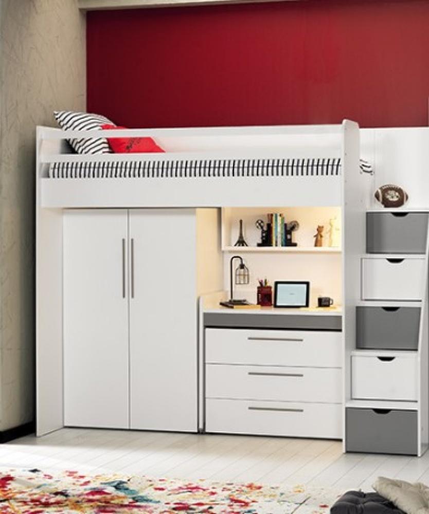 Almilas Kinderzimmer Set Neos 4-teilig mit Hochbett Weiß/Grau