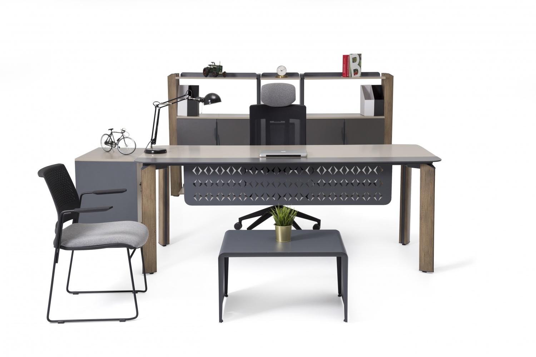 Ovali Büromöbel komplett 4-teilig Curve Holzoptik