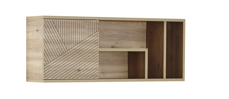 Almila Wandboard Wood mit Tür Holzoptik