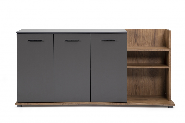 Ovali Sideboard 3-türig Clasp Anthrazit